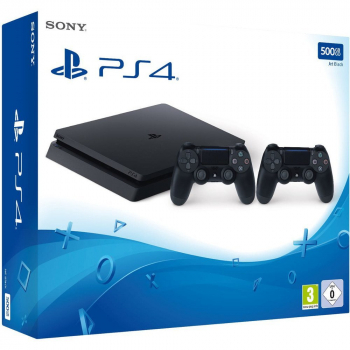 Sony PlayStation 4 Konsole Slim Jet Black (500GB) inklusive 2 Controller