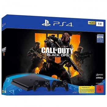 Sony PlayStation 4 Konsole Slim Jet Black (1TB) inklusive 2 Controller + Call of Duty Black Ops 4