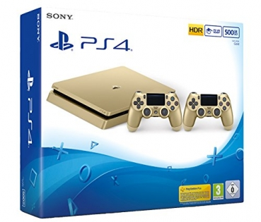 Sony PlayStation 4 Konsole Slim Gold Limited Edition (500GB) inklusive 2 Controller