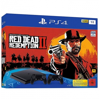Sony PlayStation 4 Konsole Slim Jet Black (1TB) inklusive 2 Controller + Red Dead Redemption 2