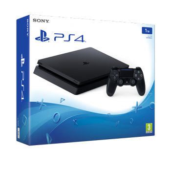 Sony PlayStation 4 Konsole Slim Jet Black (1TB) inklusive 1 Controller