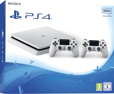 Sony PlayStation 4 Konsole Slim Glacier White (500GB) inklusive 2 Controller