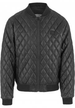 Urban Classics Diamond Quilt Leather Imitation Jacke Black