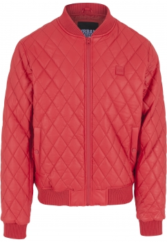 Urban Classics Diamond Quilt Leather Imitation Jacke Red