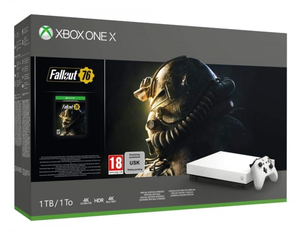 Microsoft Xbox One X Konsole Special Edition White (1TB) inklusive Fallout 76